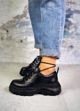 Хит-2019 натуральная кожа люксовые кроссовки на массивной подошве