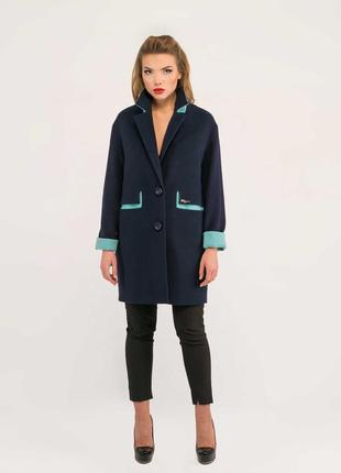 Пальто двухцветное 42-50, кашемировое демисезон
