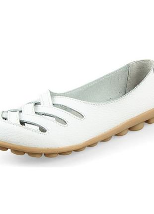 Туфли балетки белые женские натуральная кожа