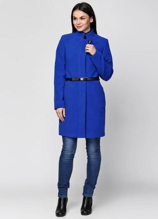 Кашемировое пальто синее 42-48р классика ворот стойка демисезон