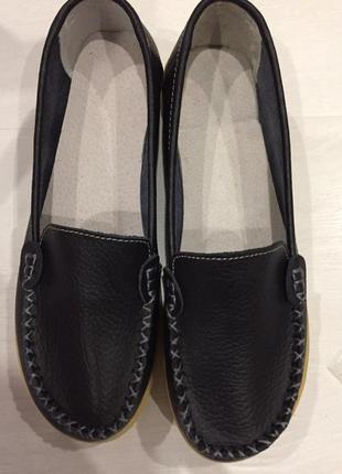 Туфли мокасины натуральная кожа черные