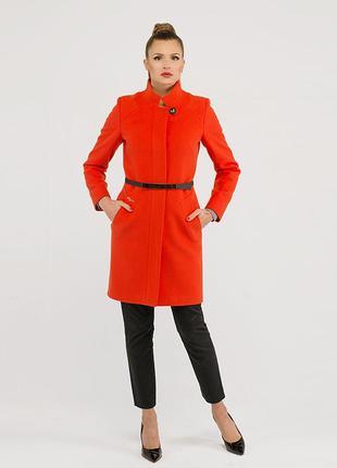Кашемировое пальто 42 48р классика ворот стойка красное демисезон