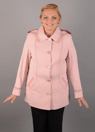 Ветровка с капюшоном 48-60р розовая пудровая батал