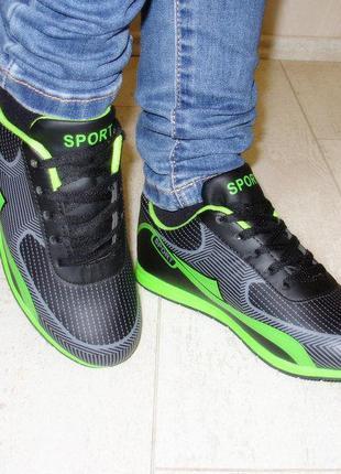 Кроссовки черные с зеленым 36-39