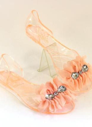Силиконовые классные балетки 35-37 персиковые с камнями турция