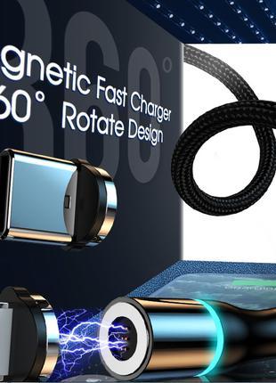 Магнитный кабель Micro USB 360°, 3A