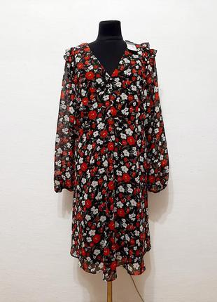 """Стильное модное шифоновое платье """" цветочное """" большого размера"""
