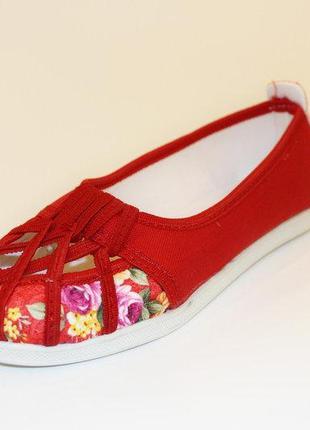 Текстильные летние балетки женские красные 37 38 39