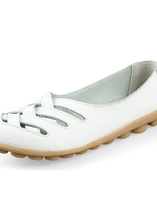Кожаные туфли балетки белые женские натуральная кожа