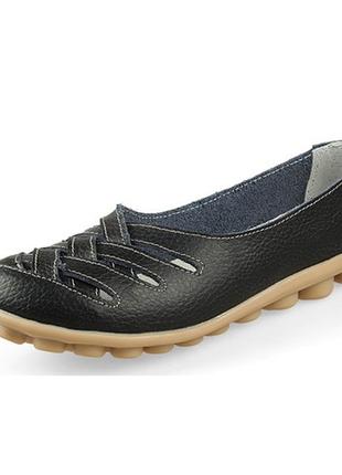 Кожаные туфли балетки черные женские натуральная кожа