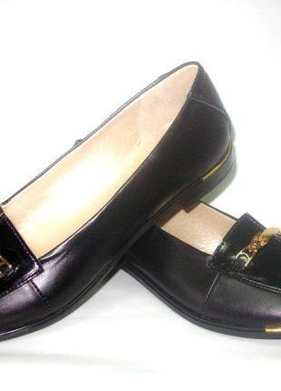 Кожаные туфли женские черные натуральная кожа украина