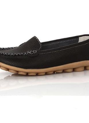 Кожаные туфли мокасины черные натуральная кожа