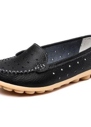 Кожаные туфли мокасины красные, белые, черные с перфорацией на...