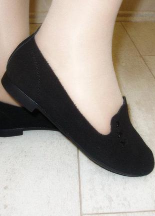 Замшевые туфли балетки женские черные низкий каблук натуральна...