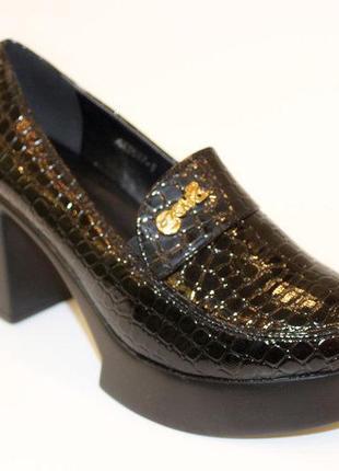 Туфли женские черные на платформе каблуке
