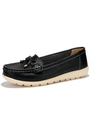 Кожаные туфли мокасины женские черные натуральная кожа