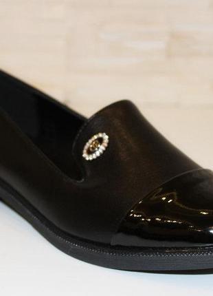 Туфли женские черные на маленьком каблучке