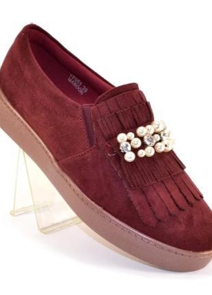 Замшевые туфли слипоны 36-41р с бахромой и жемчугом серые, чер...