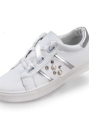 Стильные слипоны кеды белые с серебристыми вставками и жемчуго...