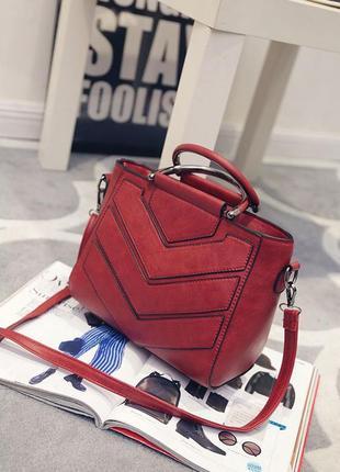 Стильная сумка женская красная эко-кожа