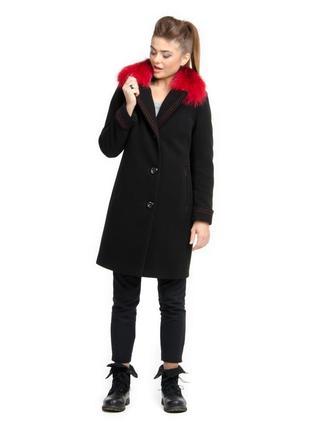 Шикарное зимнее пальто 42-50р с натуральным красным, желтым мехом