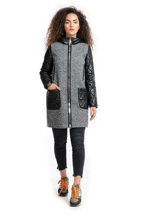 Пальто парка с кожаными рукавами твид серая 44-52р