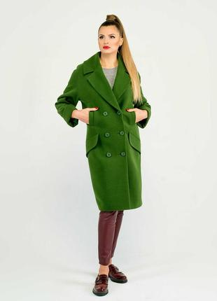 Скидка пальто-кокон 42-50 свободного кроя синее, красное, черн...