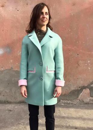 Пальто двухцветное 42-50р, кашемировое демисезон мятное, голуб...