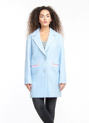 Пальто двухцветное 44 48 50р, кашемировое демисезон голубое, ч...