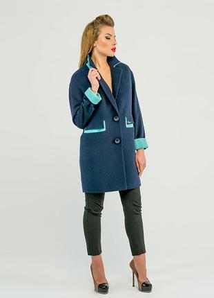 Пальто двухцветное 42-48р, кашемировое демисезон мятное, голуб...