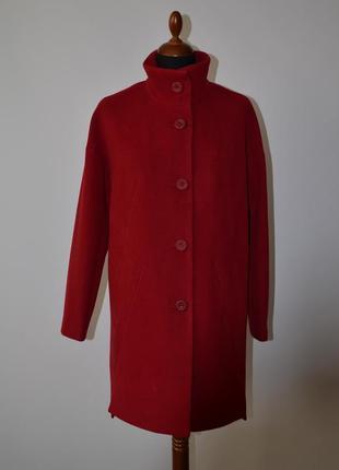 Скидка демисезонное кашемировое пальто свободного кроя красное