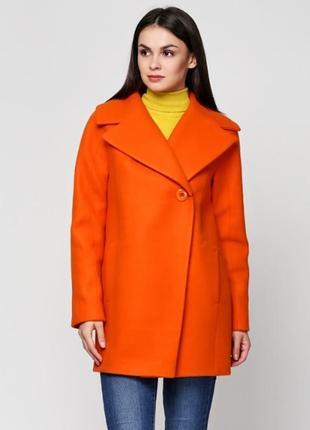 Скидка пальто короткое двубортное кашемир желтое, оранжевое