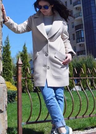 Двубортное пальто 42-52р прямого свободного кроя