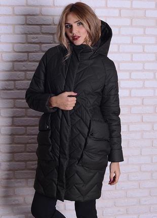 Стильная зимняя куртка-кокон 46-52р сливовая, серая, хаки