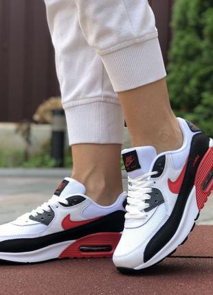 Nike Air Max 90 (белые с черно/красным)