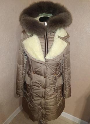 Стильная зимняя куртка парка с натуральным мехом 44-50р