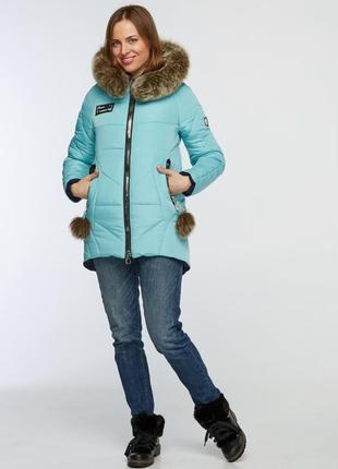 Зимняя куртка парка 42 50 52р с натуральным мехом бирюзовая
