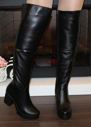 Кожаные зимние сапоги ботфорты на каблуке натуральная кожа