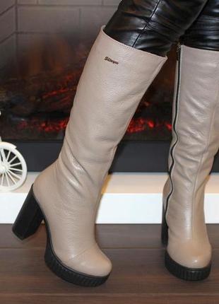 Кожаные сапоги 36-40р женские зимние бежевые на каблуке натура...