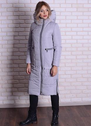 Скидка зимняя длинная куртка серая, бежевая