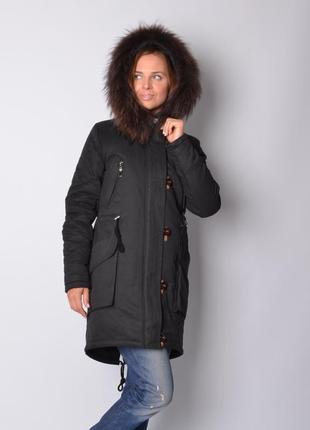Куртка парка коттоновая с натуральным мехом песца черная 48 50 54