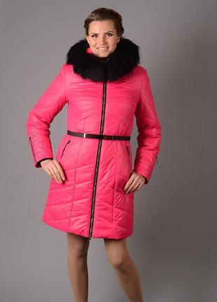 Куртка зимняя с мехом енота 52 54р розовая, оранжевая