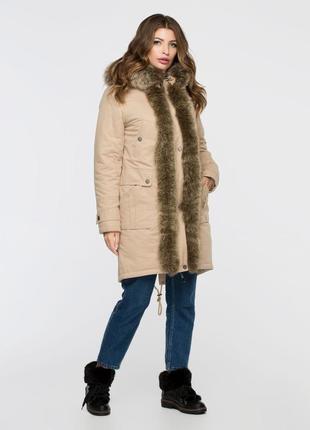 Куртка парка коттоновая зимняя 50-54р с натуральным мехом рыжа...