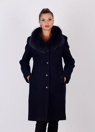 Скидка шикарное зимнее черное пальто из вареной шерсти с натур...