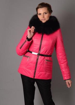 Шикарная зимняя куртка 44-54р с натуральным мехом песца розова...