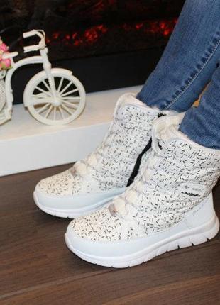 Ботинки зимние женские белые высокие