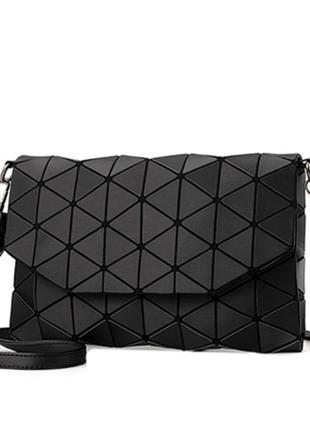 Стильная сумка клатч треугольник черная, серая, коричневая