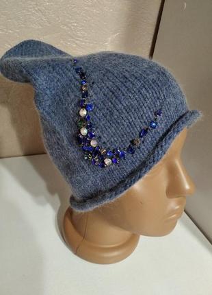 Ангоровая шапка с камнями синяя, джинс