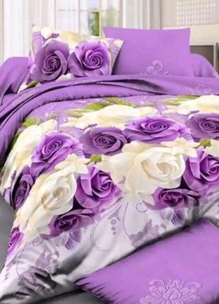 Постільна білизна Рози на фіолетовому