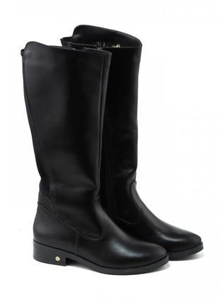 Кожаные зимние черные сапоги с резинками сзади низкий каблук н...